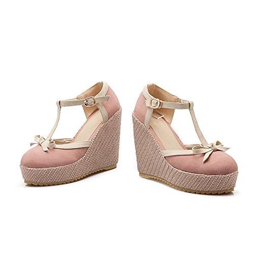 VogueZone009 Damen Hoher Absatz Gemischte Farbe Schnalle Rund Zehe Pumps Schuhe Pink