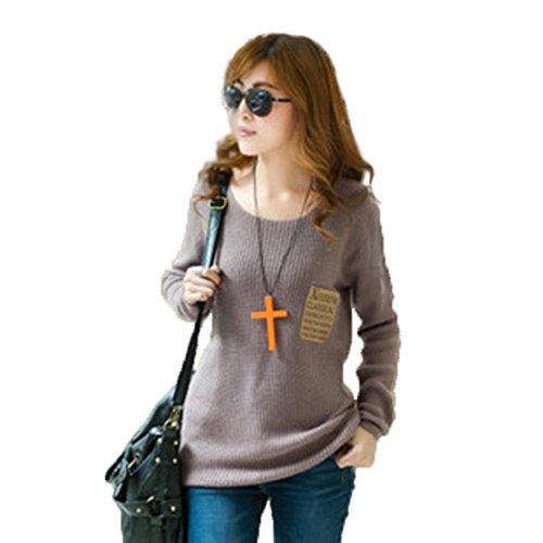 Las mujeres del otoño largo de punto jersey Loose Pullover cuello redondo Color sólido Marrón