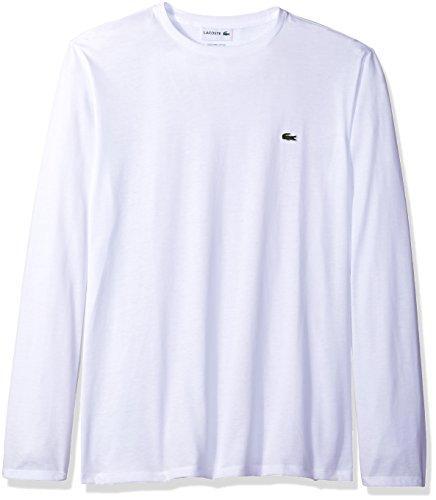 Lacoste Men's Long Sleeve Jersey Pima Regular Fit Crewneck T-Shirt, White, XX-Large
