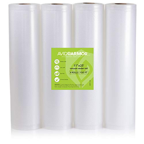 Food Saver Bags Rolls 11x25. 4 Pack for Foodsaver, Seal a Meal Vacuum Sealer FITS INSIDE MACHINE STORAGE AREA Heavy Duty Commercial, Sous Vide Vaccume, Cut to Size Roll BPA Free 100 Feet Avid Armor