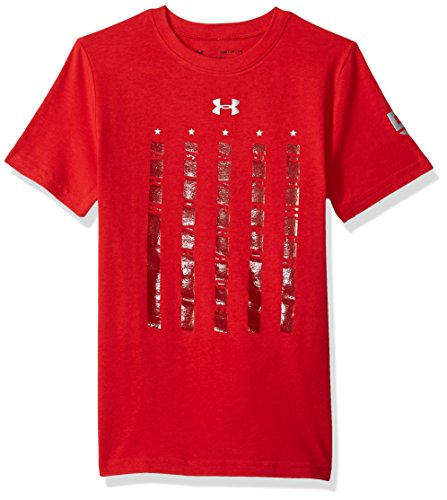 Under Armour Boys' Heater 5 Star T-Shirt,Red (600)/Metallic Silver, Youth ()