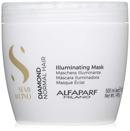 Alfaparf Milano Semi Di Lino Diamond Shine Illuminating Mask for Normal Hair, Color Safe - Sulfate, SLS, Paraben and Paraffin Free - Professional Salon Quality