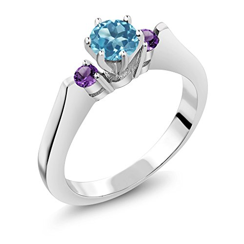 0.72 Ct Round Swiss Blue Topaz Purple Amethyst 925 Sterling Silver 3-Stone Ring (Available in size 5, 6, 7, 8, (Blue Topaz Purple Ring)