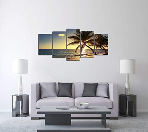 Cao Gen Decor Art-AS42729 5 panels Framed Wall Art Beach coconut tree Canvas print Canvas Paintings Ready to Hang for Home Decorations Wall Decor