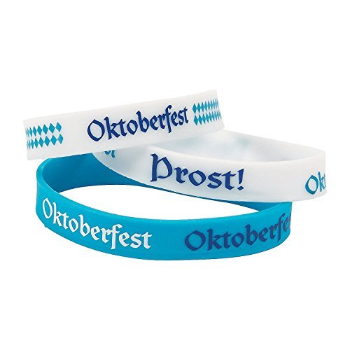Fun Express Blue/White Oktoberfest Party Rubber Bracelets | 2-Pack (24 Count) | Great for Parties, Events, and Festivals -