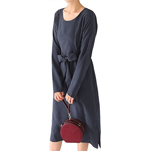 Luxe 7 Women's Elegant Navy Suede Loose Fit Long Sleeve Round Neck Dress With Belt by Luxe 7