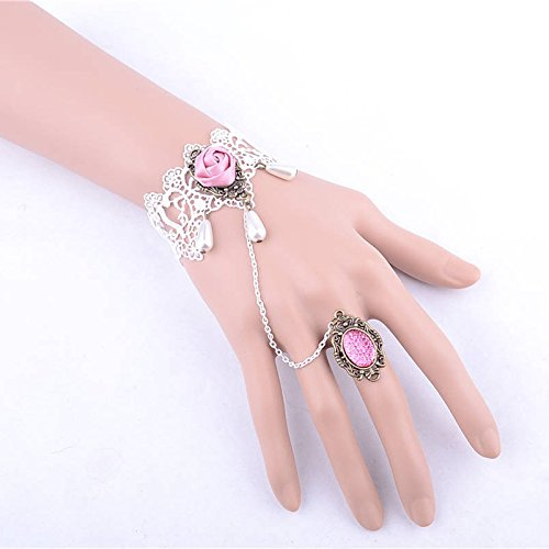 Lvxuan Sweet Style White Lace Bracelets Connect Ring Jewelry Sets,wedding Bride Bridal Pink Rose Jewelry Bracelet and Finger Ring Set