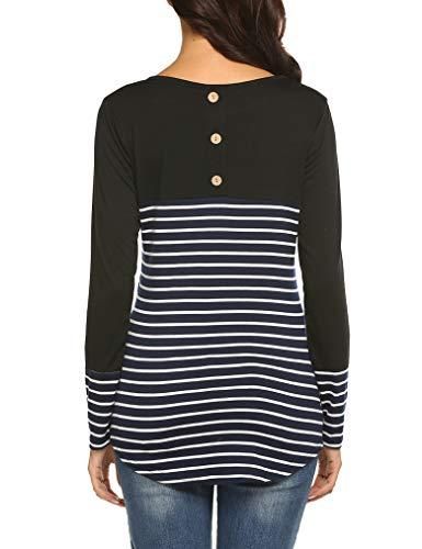 Naggoo Womens Long Sleeve Button Decor Shirts Color Block Striped Christmas Tunic Tops