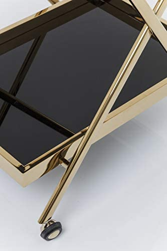 Frame: stainless steel brass Kare Trolley Casino Gold table top tempered safety glass ESG 50 x 76 x 89