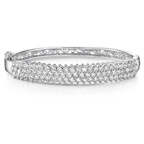 Cubic Zirconia Hinged Bangle Sterling Silver Multi Row