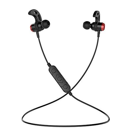 VMTOP Bluetooth Headphones, Wireless Earbuds Sport, Richer Bass HiFi Stereo In-Ear Earphones w/ Mic, Noise Cancelling Running Headsets (Red) (Ear In Earphones Wireless)