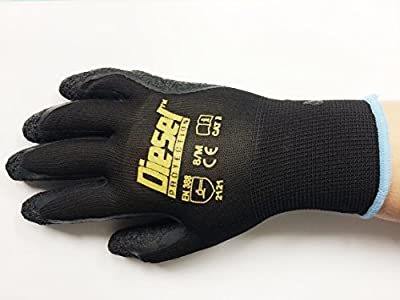 Small/ 6 Pair Diesel Black Safety Gloves Latex Coated Grip Cut Resistant