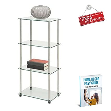 Amazon.com: ATS Glass Shelving Cabinet Storage Furniture ...