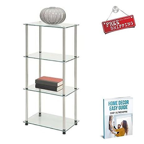 Glass Shelving Cabinet Storage Furniture Shelves Tower Racks Free Standing  Kitchen Living Room Home U0026 EBook