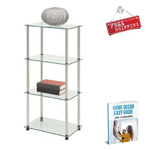Glass Shelving Cabinet Storage Furniture Shelves Tower Racks
