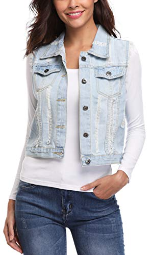 MISS MOLY Women's Distressed Denim Vest Crop Washed Frayed Ripped Jean Jacket Light Blue XL