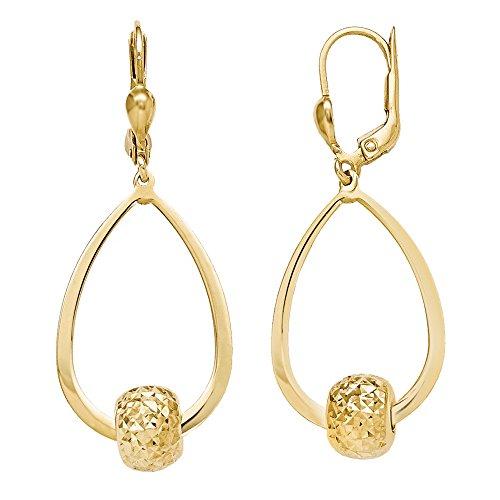 [10K Yellow Gold Diamond Cut Bead Accent Teardrop Lever Back Earrings, 44mm] (Diamond Cut Teardrop Beads)