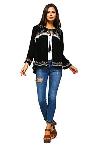 Velzera Women's Embroidered Boho Chic Fringe Jacket (Medium) Black ()