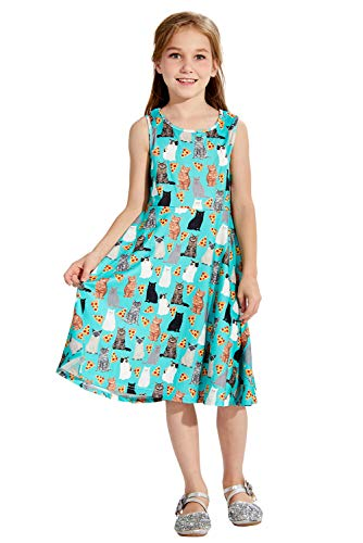 Big Girls Green Dress Black White Gold Cats Fancy Cute Design Sleeveless Crew Neck Mid Long Maxi Skirt Casual Home Birthday Party Beach Twirl Solid One Piece Dresses Junior Size 8 9 Years Old Teens