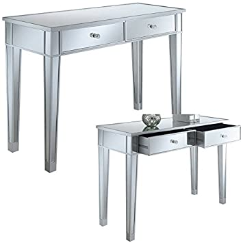 Amazon.com: Mirrored Console Table With Drawers Silver Wood ...
