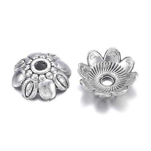 (Pandahall 100pcs 9mm Tibetan Filigree Flower Alloy Spacer Bead Caps Antique Silver Lead Free &Cadmium Free Antique Mini Metal End Caps for Jewelry Making)