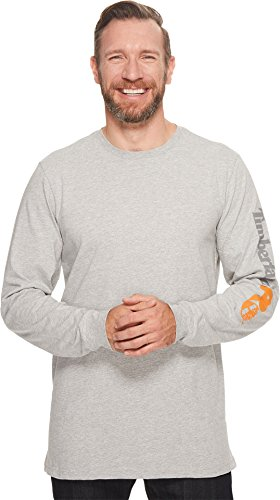 Timberland PRO Men's Big and Tall Base Plate Blended Logo Long-Sleeve T-Shirt, Grey, Medium