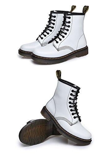 Honeystore Unisex-Erwachsene Bootsschuhe Derby Schnürhalbschuhe Kurzschaft Stiefel Winter Boots für Herren Damen Weiß mit Pelzfutter