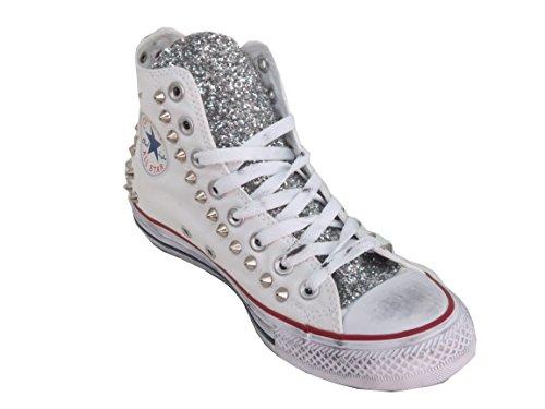 Converse Star Bianco Hi Artigianale Optical Prodotto White Borchie Argento Vintage All Glitter a61qF