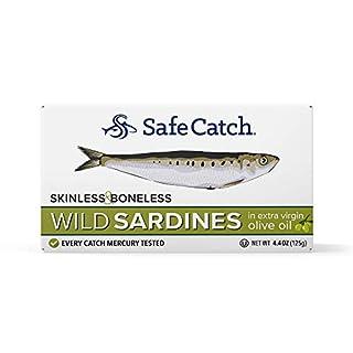 Wild Sardines, Skinless & Boneless, in Extra Virgin Olive Oil, Lowest Mercury Limit, Keto, Paleo, 12 count, 4.4oz