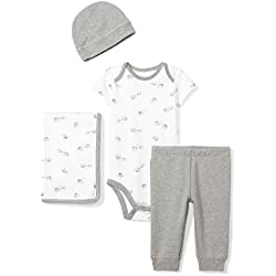 Moon and Back Baby Infant 4-Piece Organic Gift Set, Grey Elephants, Newborn