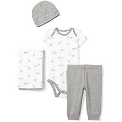 Moon and Back Baby Infant 4-Piece Organic Gift Set, Grey Elephants, Newborn