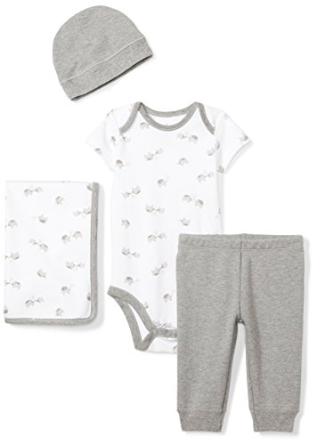 Moon and Back Baby Infant 4-Piece Organic Gift Set, Grey Elephants, (Elephant Set)