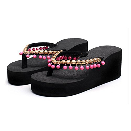 y Mujer Antideslizantes Color Playa 5 High Black Amarillo Zapatos UK3 Cool Flip Heel Tamaño con Shoes Verano Flops Plataforma MuMa Sandalias Slope EU36 Gruesa Drag CN35 Chanclas de R5fq7xYw