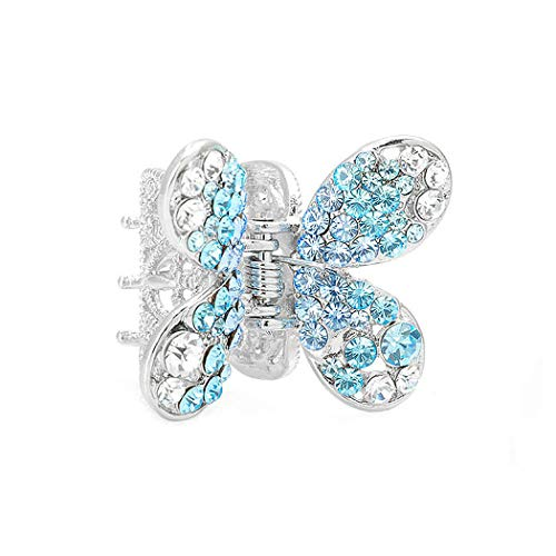 Glamorousky Butterfly Hair Clip in Light Blue and Silver Austrian Element Crystals (680)