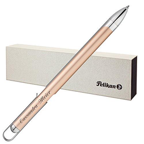 Pelikan Kugelschreiber VIO Champagner mit persönlicher Laser-Gravur aus Aluminium mit Hochglanz verchromten Metallbeschlägen