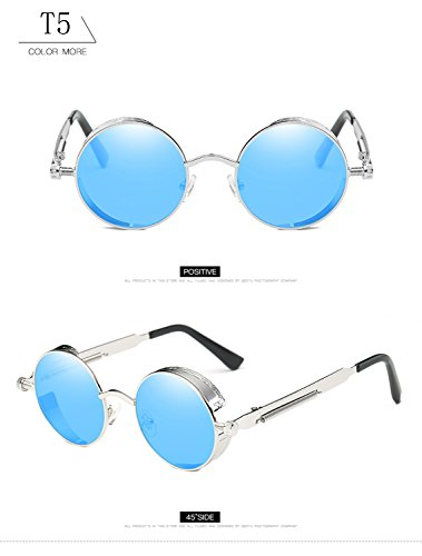 de UV400 marco de retro tamaño gafas mujeres gran lente Steampunk reflectante protección redondas con para HD Vintage metal hombres T5 ATNKE de de sol góticas gafas v6wff1
