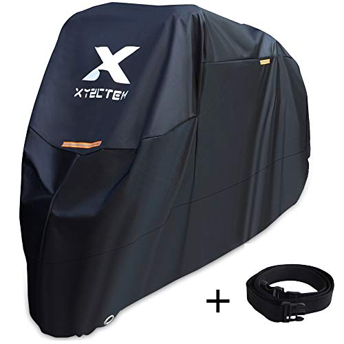 Suzuki Motorcycle Parts - XYZCTEM Motorcycle Cover -Waterproof Outdoor Storage Bag,Made of Heavy Duty Material Fits up to 116 inch, Compatible with Harley Davison and All motors(Black& Lockholes& Professional Windproof Strap)