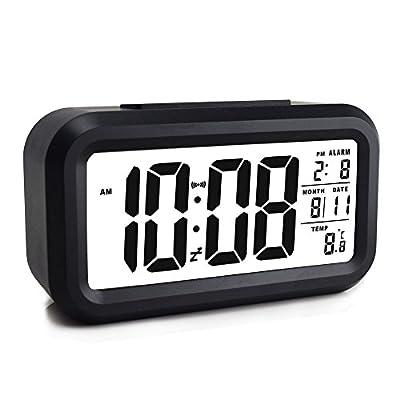 Ewtto Smart Digital Desktop Large Display Alarm Clock with Calendar Temperature Snooze Backlight
