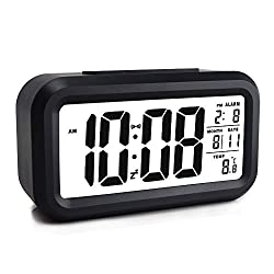 EWTTO Smart Digital Desktop Large LCD Display Alarm Clock with Calendar Temperature Snooze Backlight 4.6'' Display (Black)