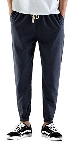 TBMPOY Men's Linen Drawstring Big and Tall Beach Pants for Spring&Summer(3 Gray,us M) Linen Cuffed Pant
