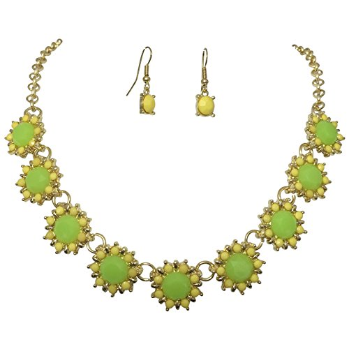 Lime Crystal Bracelet - Colorful 9 Daisy Dot Flower Bubble Gold Tone Boutique Statement Necklace Earrings Set (Lime Green and Yellow)
