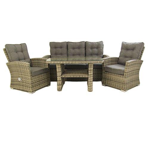Conjunto sofás de jardín, Mesa Centro 120 cm, 2 butacas y 1 sofá 3 plazas, Color Gris, Aluminio y rattán sintético, 5 plazas