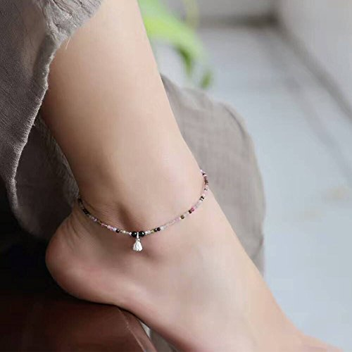 TKHNE Foot Chain anklet 2mm natural tourmaline fine women girls models simple fresh-cut crystal facets with an extension chain 925 Silver Shower ()