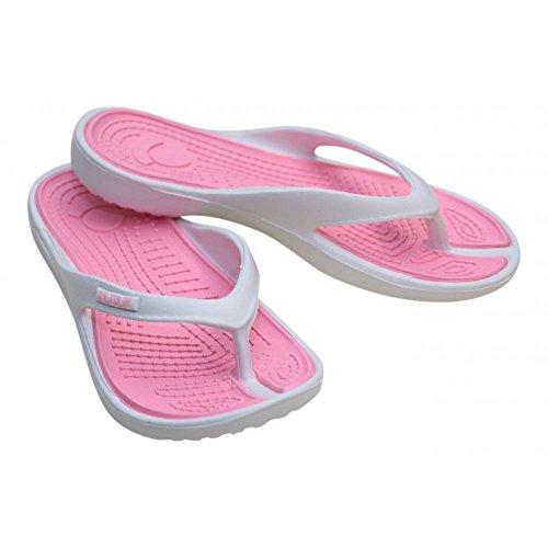 Ladies White Pink Eva Toe Post Flip Flop Surf Sandals New Summer Flat Beach Shoe white pink LxdBMJiLs