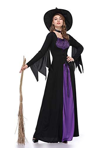 Women Halloween Costumes Wicked Witch Cloak with Hat Dress,Purple Long Sorceress Classic Dress (Small, Purple)