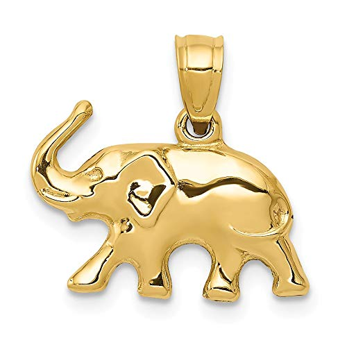 14k Yellow Gold 3 D Elephant Pendant Charm Necklace Animal Man Fine Jewelry Gift For Dad Mens For Him ()