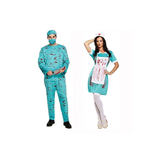 Couples Mens and Ladies Bloody Zombie Doctor & Nurse Halloween Fancy Dress Costumes Outfits Green ()