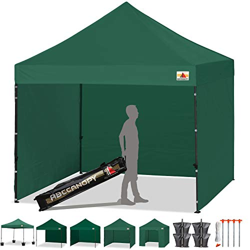 ABCCANOPY 8'x 8' Ez Pop-up Canopy Tent Commercial Instant Tent with 4 Removable SideWalls and Roller Bag,Bonus 4 SandBags (Forest Green) ()
