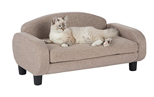 "Paws & Purrs Modern Pet Sofa 31.5"" Wide Low Back Lounging Bed with Removable Mattress Cover in Sand"