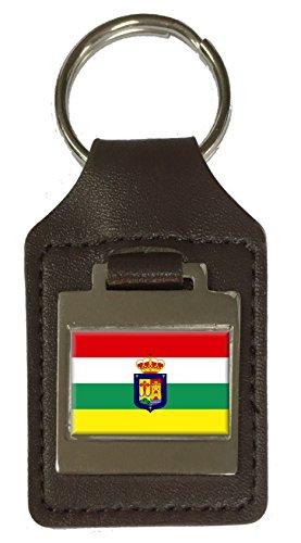 Llavero de piel grabado con la bandera de Rioja